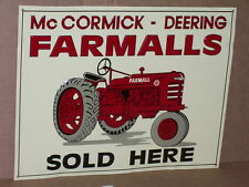 McCormick Deering FARMALLS SIGN -Shows alot of Detail of an OLD RED FARM TRACTOR