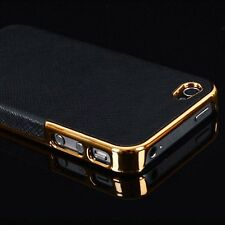 Newest Frame Luxury Leather Chrome Hard Back Case Cover For iPhone 6 / 6S Plus