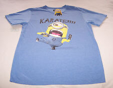 Despicable Me Mens Blue Minion Karate Printed T Shirt Size M New