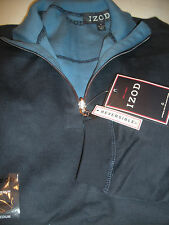 NEW MEN REVERSIBLE IZOD PULLOVER NAVY  SWEATER SHIRT SIZE M NWT 1/4 ZIPPER