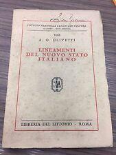 Olivetti A.O. Lineamenti del nuovo stato italiano.
