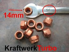 4x M10-1.50 Copper Turbo Nuts 14mm (!!!) Hex - Exhaust Downpipe - from Michigan