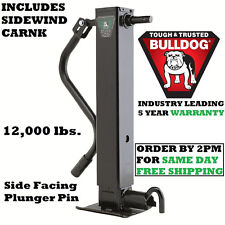 BULLDOG SQUARE TRAILER JACK 12000 lbs DROP LEG SPRING RETURN SIDEWIND W/ CRANK