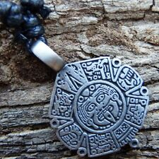 Myth Calendar of Aztec Totem Maya Silver Pewter Pendant and Cotton Necklace #419