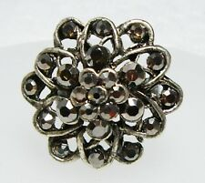 Large Vintage Gun Metal Gray Marcasite FLOWER Shape Adjustable Ring