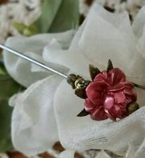 Victorian Hat Pin Vintage Inspired Pearly Rose Bead & Antique Brass Fittings.