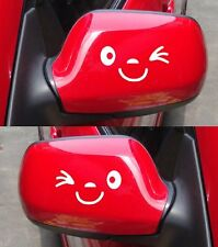 Smile Face Wink Car Wing Door Mirror Funny Stickers Decal Novelty Gift White