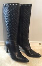 VIA SPIGA Indeed BLACK LEATHER quilted high heel BOOTS 8 Authentic Soft Pointy