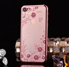 For iPhone 7 - TPU Rubber Gummy Gel Diamond Blings Case Rose Gold Pink Flowers