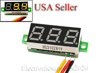 "Mini DC 0-100V Yellow LED 3-Digital Display Voltage Voltmeter 0.28"" Volt Meter"