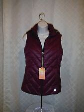 Women's Hoodie Puffer Vest size SM Tek Gear Purple Plum Ful Zip 2 side pockets N