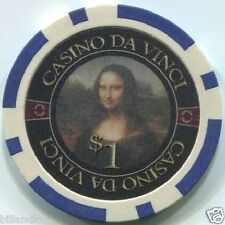 5 pc 5 colors Casino Da Vinci Masterworks art poker chips samples set #244