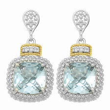 Phillip Gavriel 18k Gold Silver Square Blue Topaz .01ct White Diamond Earrings