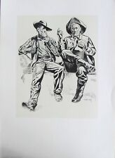 Tom Lea  TEXAS ARTIST-OLD BIGFOOT AND JOHN ON HAND-TWO OLD TIMERS HAVING A CHAT