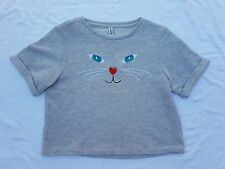 BNWT Just Jeans Size 14 Sweater Jumper Short Sleeve Grey Cat Kitty Cropped