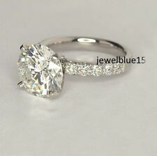 Real Moissanite 2.28 ct Near White Round Cut Engagement Ring 925 Sterling Silver