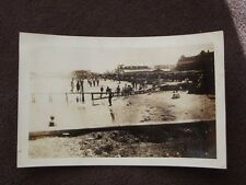 BEACH & BOARDWALK WITH ROLLER COASTER WAY IN THE DISTANCE  VTG 1920's  PHOTO