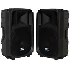 "Seismic Audio Pair of Active 15"" 2-Way Speakers - PA DJ Molded Loudspeaker 600W"
