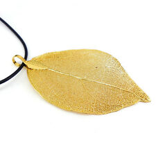 Unique! Real Nature Leaf Pendant Dipped 18K Gold Plated Filigree Necklace