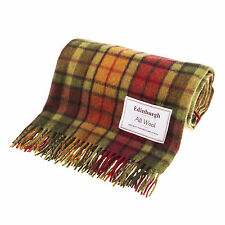 Great Gift: Highland - Edinburgh 100% Wool Buchanan Autumn Tartan Blanket / Rug