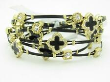 6 Gold Plated Stainless Steel Enamel Clover Crystal Stackable Bangle Bracelets