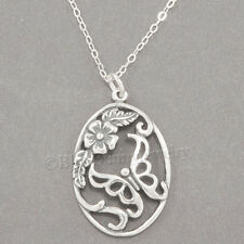 "BUTTERFLY Flower Charm Oval Garden Pendant  925 STERLING SILVER 18"" Necklace"