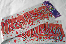 3 X GIANT RUBY WEDDING ANNIVERSARY BANNERS / WALL BANNERS  PARTY DECORATION