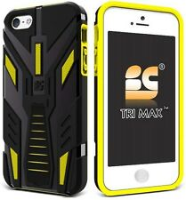 YELLOW BLACK TRI-MAX RUGGED TPU CASE COVER STAND SCREEN SAVER FOR iPHONE 5 5s