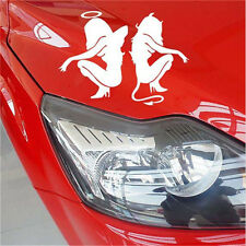 Reflective Car Stickers Beauty Sexy Angel and Devil White Waterproof Decal