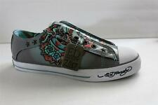 Ed Hardy Lowrise Women Gray Patent Leather Fashion Sneaker Size 8 M Eur 39