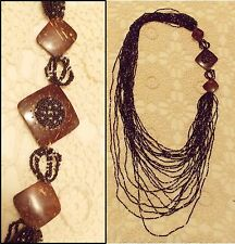 """HUGE Statement Necklace, 23 Strand Black Glass Beads & Coconut Shell, 34-48"""""""