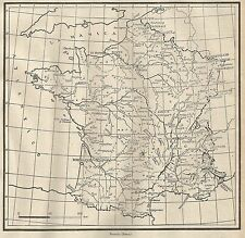 A4897 Francia - Carta geografica antica del 1953 - Old map