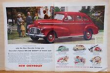 1946 two page magazine ad for Chevrolet - red Stylemaster, Big Car Quality