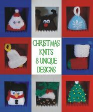 knitting pattern:mini christmas decorations, santa, tree, reindeer, bauble etc.