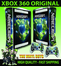 XBOX 360 OLD SHAPE STICKER BUILDING BLOCK PLANET GRAPHIC KIT SKIN & 2 PAD SKINS