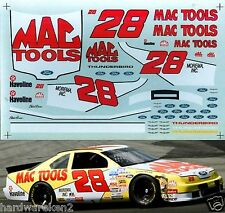 NASCAR DECAL #28 MAC TOOLS 1994 BGN FORD THUNDERBIRD ERNIE IRVAN - 1/24 SCALE
