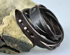 S383 Cool Double Wrap Braided Plain Leather Bracelet Wristband Cuff Coffee BROWN