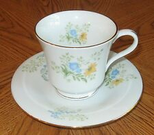 Liling Fine China Blooming Cup and Saucer Wildflowers with Gold Trim Yung Shen