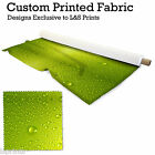 WATERDROPS GREEN DESIGN PRINTED FABRIC LYCRA JERSEY SPANDEX FROM£15.99 PER METRE