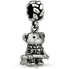Teddy Scares Redmond Gore Genuine Solid Sterling Silver Charm OHM Bead AAR101