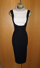 Hobbs Tailored Bib Front Midi Black Wiggle Dress UK 8 36 Pencil Office Work