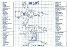 1983 Action Force Z FORCE ATTACK CANNON (GIJOE FLAK) original BLUEPRINTS Palitoy