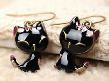 FASHION Gift Retro Style Cute Enamel Black Cat Dangle Earring CA WB