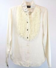 Lanvin - Ivory Ruffle Collar Long Sleeve Button Down Shirt Blouse - Size 38 / 4