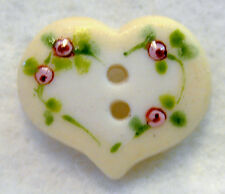 Handcrafted Porcelain Button Heart w/ Yellow Rim & Flowers FREE US SHIPPING