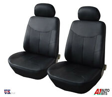 FRONT LEATHERETTE BLACK SEAT COVERS FOR VW CADDY TRANSPORTER T4 T5 MULTIVAN LT