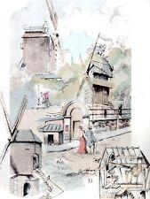 AQUARELLE COULEUR VIEUX MOULIN / Moulin du Blute fin ou de la Galette à Paris