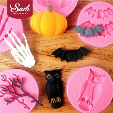 TZ018 6pcs/lot Halloween Series Bat Owl Spider Twig Silicone Fondant Cake Molds
