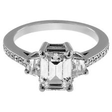 3.50CT EMERALD CUT engagement Ring 14K WHITE GOLD AMAZING D VVS1 spotless