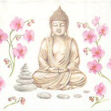 2 Serviettes papier Asie Bouddha Galet Decoupage Paper Napkins Buddha Asia Style